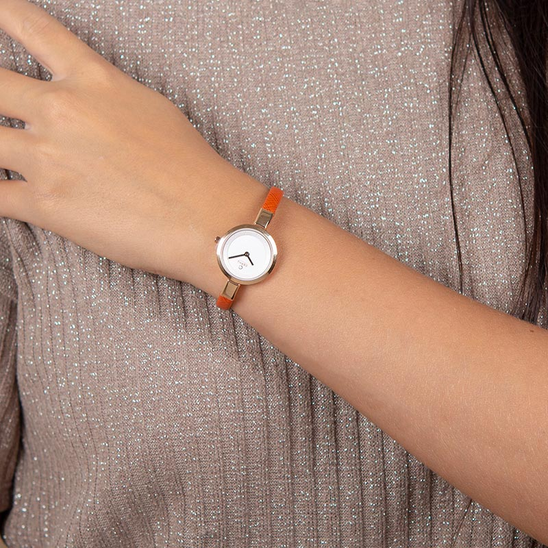 Obaku Women watch SIV - PUMPKIN WRIST view