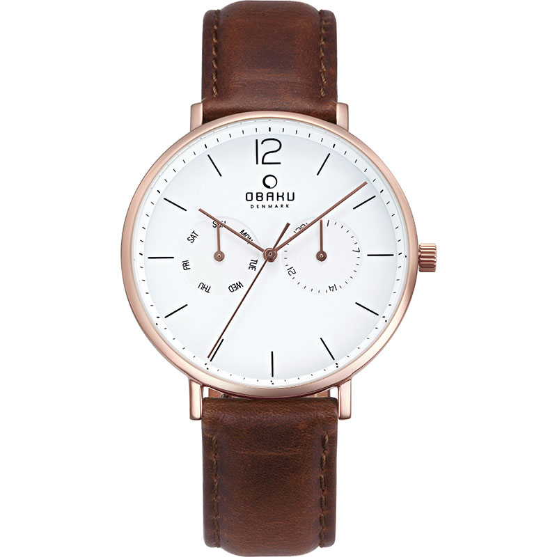 Obaku Men watch FLOD - MAHOGANY FRONT view